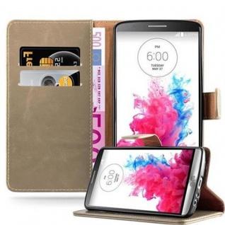 Cadorabo Hülle für LG G3 in CAPPUCINO BRAUN - Handyhülle mit Magnetverschluss, Standfunktion und Kartenfach - Case Cover Schutzhülle Etui Tasche Book Klapp Style