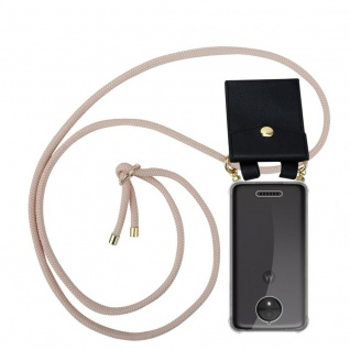 Cadorabo Handy Kette für Motorola MOTO C PLUS in PERLIG ROSÉGOLD Silikon Necklace Umhänge Hülle mit Gold Ringen, Kordel Band Schnur und abnehmbarem Etui Schutzhülle