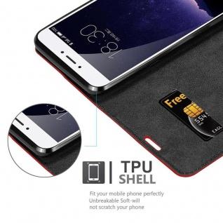 Cadorabo Hülle für MEIZU MX6 in APFEL ROT Handyhülle mit Magnetverschluss, Standfunktion und Kartenfach Case Cover Schutzhülle Etui Tasche Book Klapp Style - Vorschau 5