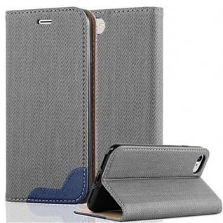 Cadorabo Hülle für Apple iPhone 7 / iPhone 7S / iPhone 8 - Hülle in GRAU BLAU ? Handyhülle in Bast-Optik mit Kartenfach und Standfunktion - Case Cover Schutzhülle Etui Tasche Book Klapp Style