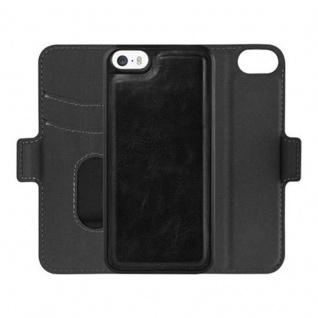 Cadorabo Hülle für Apple iPhone 5 / iPhone 5S / iPhone SE - Hülle in KOHLEN SCHWARZ - Handyhülle im 2-in-1 Design mit Standfunktion und Kartenfach - Hard Case Book Etui Schutzhülle Tasche Cover - Vorschau 2