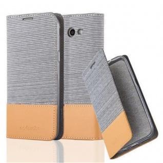 Cadorabo Hülle für Samsung Galaxy J3 2017 (US Version) in HELL GRAU BRAUN - Handyhülle mit Magnetverschluss, Standfunktion und Kartenfach - Case Cover Schutzhülle Etui Tasche Book Klapp Style