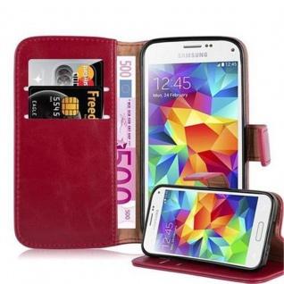 Cadorabo Hülle für Samsung Galaxy S5 MINI / S5 MINI DUOS in WEIN ROT Handyhülle mit Magnetverschluss, Standfunktion und Kartenfach Case Cover Schutzhülle Etui Tasche Book Klapp Style
