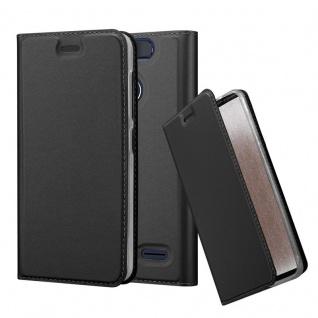 Cadorabo Hülle für ZTE Blade V8 MINI in CLASSY SCHWARZ - Handyhülle mit Magnetverschluss, Standfunktion und Kartenfach - Case Cover Schutzhülle Etui Tasche Book Klapp Style