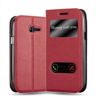 Cadorabo Hülle für Samsung Galaxy TREND LITE in SAFRAN ROT - Handyhülle mit Magnetverschluss, Standfunktion und 2 Sichtfenstern - Case Cover Schutzhülle Etui Tasche Book Klapp Style