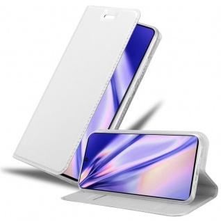 Cadorabo Hülle für Samsung Galaxy A91 in CLASSY SILBER Handyhülle mit Magnetverschluss, Standfunktion und Kartenfach Case Cover Schutzhülle Etui Tasche Book Klapp Style