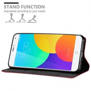Cadorabo Hülle für MEIZU MX4 in APFEL ROT Handyhülle mit Magnetverschluss, Standfunktion und Kartenfach Case Cover Schutzhülle Etui Tasche Book Klapp Style - Vorschau 3