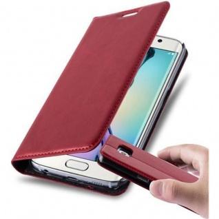 Cadorabo Hülle für Samsung Galaxy S6 EDGE in APFEL ROT - Handyhülle mit Magnetverschluss, Standfunktion und Kartenfach - Case Cover Schutzhülle Etui Tasche Book Klapp Style