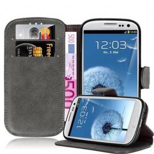 Cadorabo Hülle für Samsung Galaxy S3 / S3 NEO - Hülle in MATT GRAU - Handyhülle mit Standfunktion und Kartenfach im Retro Design - Case Cover Schutzhülle Etui Tasche Book Klapp Style