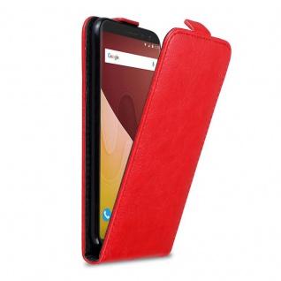 Cadorabo Hülle für WIKO VIEW GO in APFEL ROT Handyhülle im Flip Design mit Magnetverschluss Case Cover Schutzhülle Etui Tasche Book Klapp Style