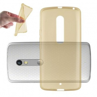 Cadorabo Hülle für Motorola MOTO X PLAY - Hülle in TRANSPARENT GOLD ? Handyhülle aus TPU Silikon im Ultra Slim 'AIR' Design - Ultra Slim Soft Backcover Case Bumper