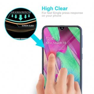 Cadorabo Panzer Folie für Samsung Galaxy A40 - Schutzfolie in KRISTALL KLAR - Gehärtetes (Tempered) Display-Schutzglas in 9H Härte mit 3D Touch Kompatibilität - Vorschau 5