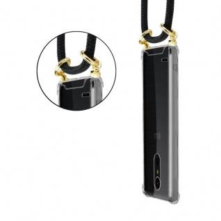 Cadorabo Handy Kette für LG K10 2017 in SCHWARZ Silikon Necklace Umhänge Hülle mit Gold Ringen, Kordel Band Schnur und abnehmbarem Etui Schutzhülle - Vorschau 2
