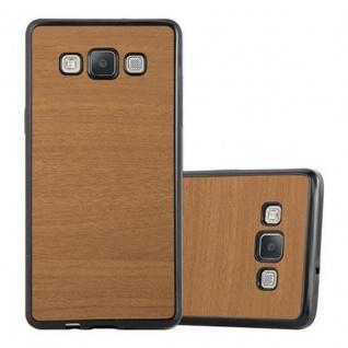 Cadorabo Hülle für Samsung Galaxy A3 2015 in WOODEN BRAUN - Handyhülle aus flexiblem TPU Silikon - Silikonhülle Schutzhülle Ultra Slim Soft Back Cover Case Bumper