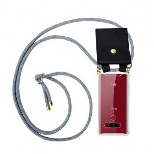 Cadorabo Handy Kette für LG G8s in SILBER GRAU - Silikon Necklace Umhänge Hülle mit Gold Ringen, Kordel Band Schnur und abnehmbarem Etui ? Schutzhülle