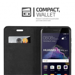 Cadorabo Hülle für Huawei P8 LITE 2017 in KAFFEE BRAUN - Handyhülle mit Magnetverschluss, Standfunktion und Kartenfach - Case Cover Schutzhülle Etui Tasche Book Klapp Style - Vorschau 2