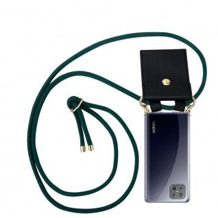 Cadorabo Handy Kette für Oppo A92s in ARMEE GRÜN Silikon Necklace Umhänge Hülle mit Gold Ringen, Kordel Band Schnur und abnehmbarem Etui Schutzhülle