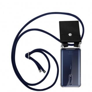 Cadorabo Handy Kette für Nokia 8 2017 in TIEF BLAU Silikon Necklace Umhänge Hülle mit Silber Ringen, Kordel Band Schnur und abnehmbarem Etui Schutzhülle