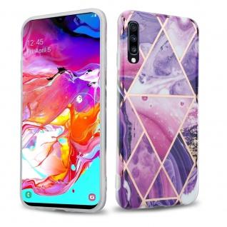 Cadorabo Hülle für Samsung Galaxy A70 Hülle in Lila Welle Marmor No.14 Handyhülle aus TPU Silikon mit Muster Mosaik Silikonhülle Schutzhülle Ultra Slim Back Cover Case Bumper
