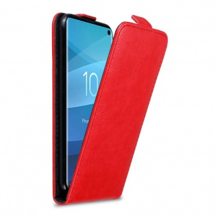Cadorabo Hülle für Samsung Galaxy S10 in APFEL ROT - Handyhülle im Flip Design mit Magnetverschluss - Case Cover Schutzhülle Etui Tasche Book Klapp Style