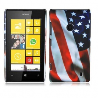 Cadorabo - Hard Cover für Nokia Lumia 520 - Case Cover Schutzhülle Bumper im Design: STARS AND STRIPES