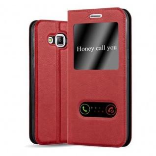 Cadorabo Hülle für Samsung Galaxy J5 2015 in SAFRAN ROT ? Handyhülle mit Magnetverschluss, Standfunktion und 2 Sichtfenstern ? Case Cover Schutzhülle Etui Tasche Book Klapp Style