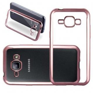 Cadorabo Hülle für Samsung Galaxy J1 2015 - Hülle in TRANSPARENT mit CHROM ROSEGOLD ? Handyhülle aus TPU Silikon im Chrom Design - Silikonhülle Schutzhülle Ultra Slim Soft Back Cover Case Bumper