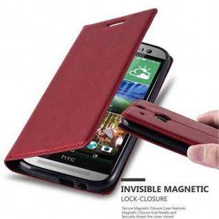 Cadorabo Hülle für HTC ONE M8 (2.Generation) in APFEL ROT - Handyhülle mit Magnetverschluss, Standfunktion und Kartenfach - Case Cover Schutzhülle Etui Tasche Book Klapp Style