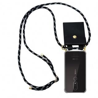 Cadorabo Handy Kette für Nokia 4.2 in SCHWARZ SILBER - Silikon Necklace Umhänge Hülle mit Gold Ringen, Kordel Band Schnur und abnehmbarem Etui ? Schutzhülle