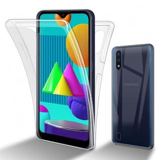 Cadorabo Hülle kompatibel mit Samsung Galaxy M01 in TRANSPARENT - 360° Full Body Handyhülle Front und Rückenschutz Rundumschutz Schutzhülle mit Displayschutz