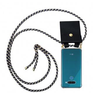 Cadorabo Handy Kette für LG Q60 in DUNKELBLAU GELB Silikon Necklace Umhänge Hülle mit Gold Ringen, Kordel Band Schnur und abnehmbarem Etui Schutzhülle