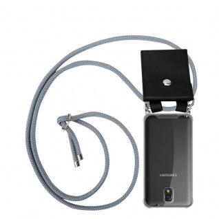 Cadorabo Handy Kette für Samsung Galaxy NOTE 3 in SILBER GRAU - Silikon Necklace Umhänge Hülle mit Silber Ringen, Kordel Band Schnur und abnehmbarem Etui - Schutzhülle