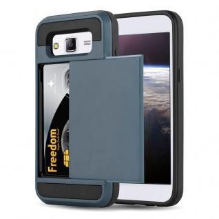 Cadorabo Hülle für Samsung Galaxy J5 2015 (5) - Hülle in TRESOR NAVY BLAU - Handyhülle mit verstecktem Kartenfach - Hard Case TPU Silikon Schutzhülle für Hybrid Cover