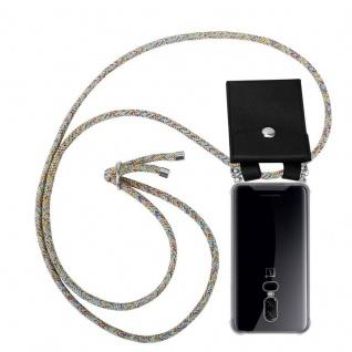 Cadorabo Handy Kette für OnePlus 6 in RAINBOW Silikon Necklace Umhänge Hülle mit Silber Ringen, Kordel Band Schnur und abnehmbarem Etui Schutzhülle
