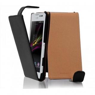 Cadorabo Hülle für Sony Xperia C in OXID SCHWARZ - Handyhülle im Flip Design aus strukturiertem Kunstleder - Case Cover Schutzhülle Etui Tasche Book Klapp Style