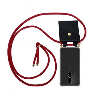Cadorabo Handy Kette für Nokia 5.1 Plus in RUBIN ROT Silikon Necklace Umhänge Hülle mit Gold Ringen, Kordel Band Schnur und abnehmbarem Etui Schutzhülle