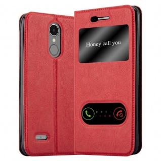 Cadorabo Hülle für LG K8 2017 in SAFRAN ROT - Handyhülle mit Magnetverschluss, Standfunktion und 2 Sichtfenstern - Case Cover Schutzhülle Etui Tasche Book Klapp Style