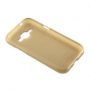 Cadorabo Hülle für Samsung Galaxy J1 2015 in GOLD - Handyhülle aus flexiblem TPU Silikon - Silikonhülle Schutzhülle Ultra Slim Soft Back Cover Case Bumper - Vorschau 3