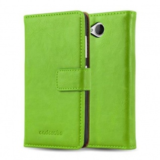 Cadorabo Hülle für Nokia Lumia 650 in GRAS GRÜN - Handyhülle mit Magnetverschluss, Standfunktion und Kartenfach - Case Cover Schutzhülle Etui Tasche Book Klapp Style