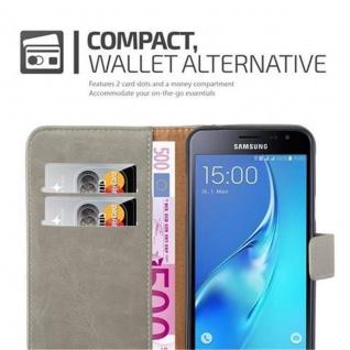 Cadorabo Hülle für Samsung Galaxy J3 2016 in CAPPUCCINO BRAUN ? Handyhülle mit Magnetverschluss, Standfunktion und Kartenfach ? Case Cover Schutzhülle Etui Tasche Book Klapp Style - Vorschau 4