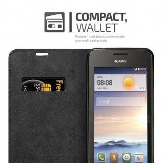 Cadorabo Hülle für Huawei Y330 in APFEL ROT Handyhülle mit Magnetverschluss, Standfunktion und Kartenfach Case Cover Schutzhülle Etui Tasche Book Klapp Style - Vorschau 4