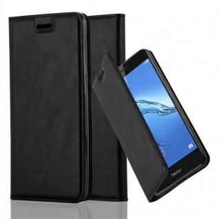 Cadorabo Hülle für Honor 6C in NACHT SCHWARZ - Handyhülle mit Magnetverschluss, Standfunktion und Kartenfach - Case Cover Schutzhülle Etui Tasche Book Klapp Style