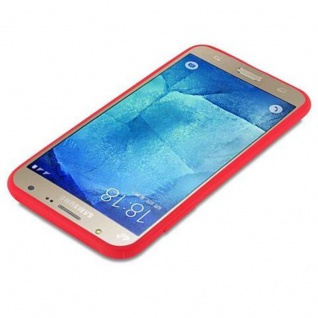 Cadorabo Hülle für Samsung Galaxy J7 2015 in CANDY ROT - Handyhülle aus flexiblem TPU Silikon - Silikonhülle Schutzhülle Ultra Slim Soft Back Cover Case Bumper - Vorschau 3