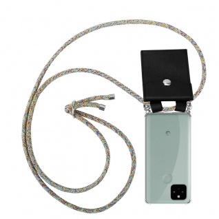 Cadorabo Handy Kette für Google Pixel 5 in RAINBOW Silikon Necklace Umhänge Hülle mit Silber Ringen, Kordel Band Schnur und abnehmbarem Etui Schutzhülle