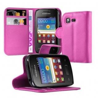 Cadorabo Hülle für Samsung Galaxy POCKET 2 in CHERRY PINK - Handyhülle mit Magnetverschluss, Standfunktion und Kartenfach - Case Cover Schutzhülle Etui Tasche Book Klapp Style