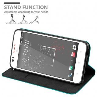 Cadorabo Hülle für HTC Desire 10 LIFESTYLE / Desire 825 in PETROL TÜRKIS - Handyhülle mit Magnetverschluss, Standfunktion und Kartenfach - Case Cover Schutzhülle Etui Tasche Book Klapp Style - Vorschau 4