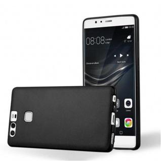 Cadorabo Hülle für Huawei P9 in METALLIC SCHWARZ - Handyhülle aus flexiblem TPU Silikon - Silikonhülle Schutzhülle Ultra Slim Soft Back Cover Case Bumper