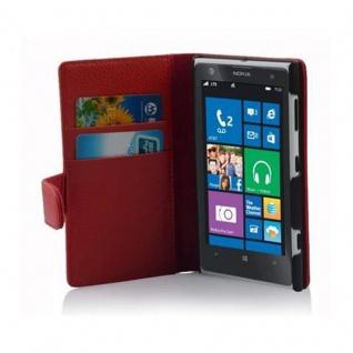 Cadorabo Hülle für Nokia Lumia 1020 in INFERNO ROT - Handyhülle aus strukturiertem Kunstleder mit Standfunktion und Kartenfach - Case Cover Schutzhülle Etui Tasche Book Klapp Style