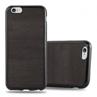 Cadorabo Hülle für Apple iPhone 6 / iPhone 6S in WOODEN SCHWARZ ? Handyhülle aus flexiblem TPU Silikon ? Silikonhülle Schutzhülle Ultra Slim Soft Back Cover Case Bumper