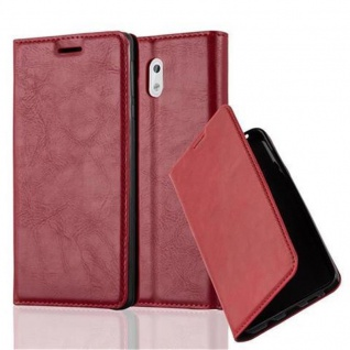 Cadorabo Hülle für Nokia 3 2017 in APFEL ROT Handyhülle mit Magnetverschluss, Standfunktion und Kartenfach Case Cover Schutzhülle Etui Tasche Book Klapp Style